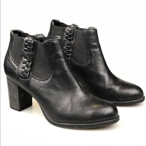 Sperry Dasher Leah Heeled Black Leather Bootie 9.5